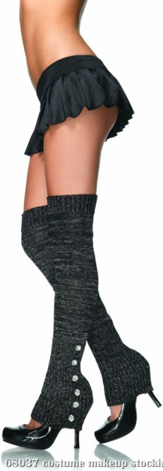 Extra Long Leg Warmers (Black/Silver) Adult