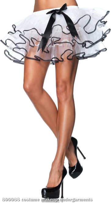 Petticoat White With Black Trim & Bow (Adult)