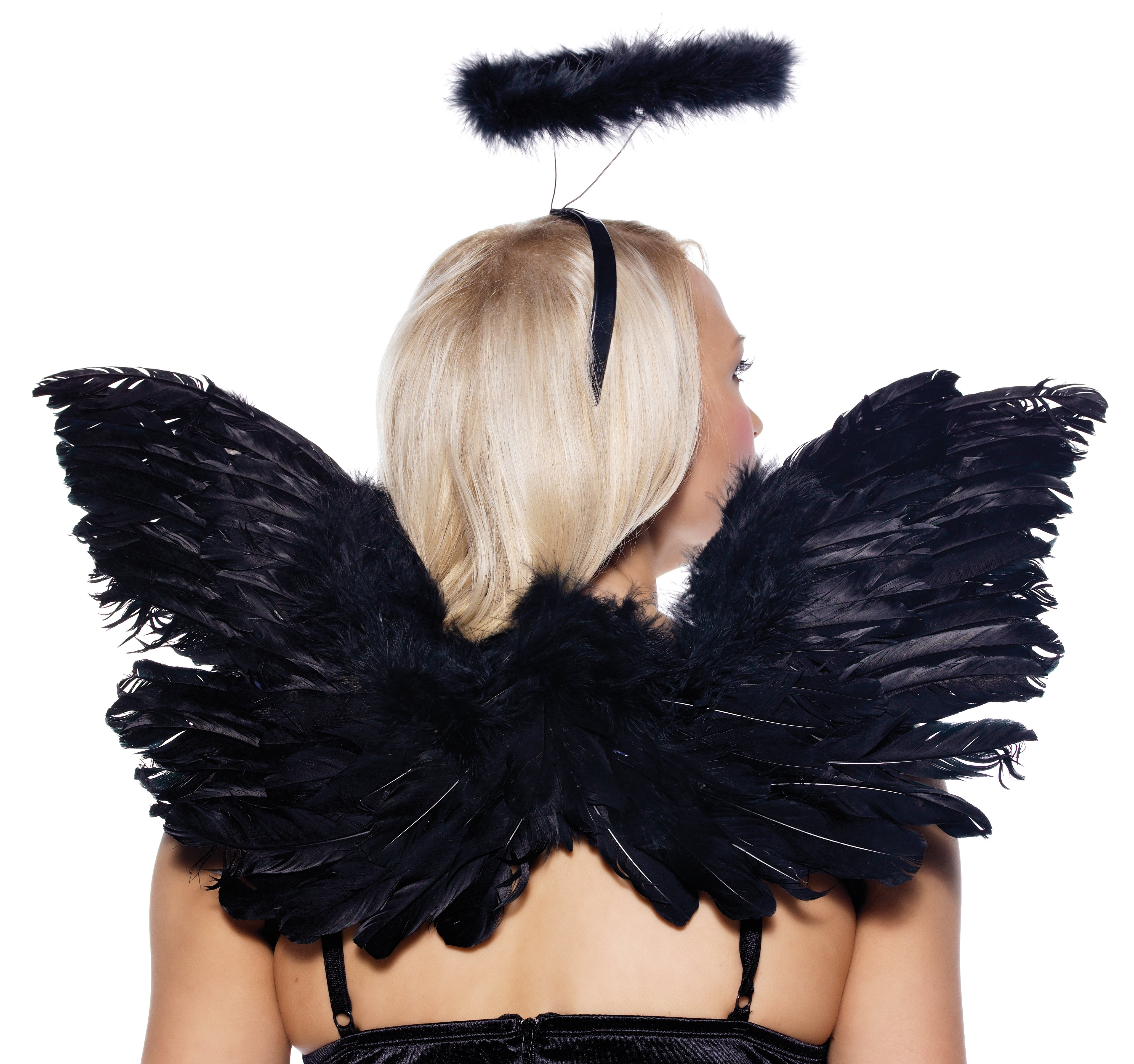 Black Deluxe Feather Angel Accessory Kit (Adult)