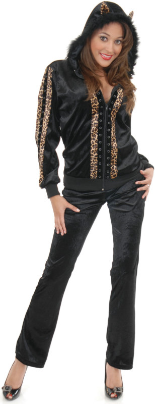 Cat Hoodie Tan Leopard Adult Plus Costume