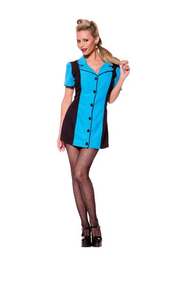 Bowling Dress Turquoise Adult Costume