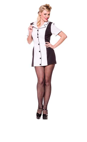 Bowling Dress Black and White Adult Costume
