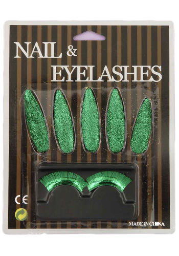 Green Nails and Eyelashes