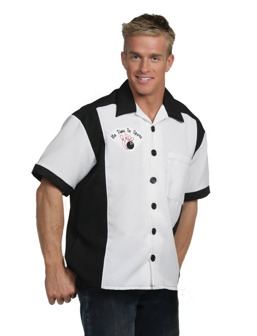 Bowling Shirt Black and White Adult Costume