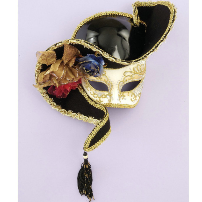 Venetian Mask - 1/2 Face White w/ Black Hat
