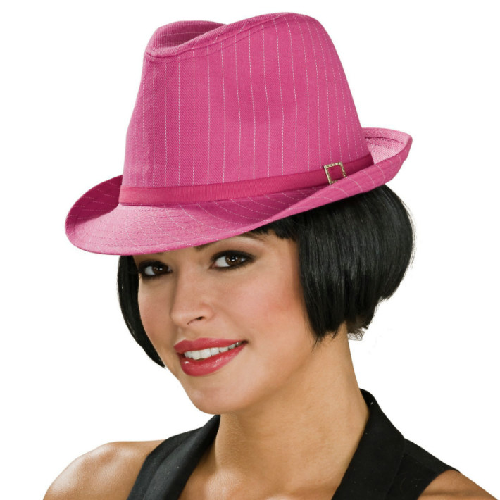 Pinstripe Fedora Hat (Pink w/White Stripes) Adult