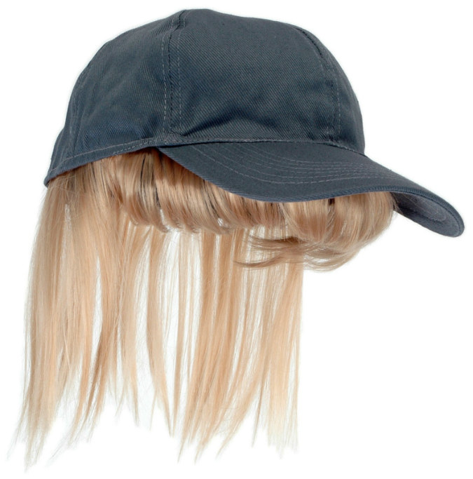 Adult Gray Baseball Cap with Blonde Bangs