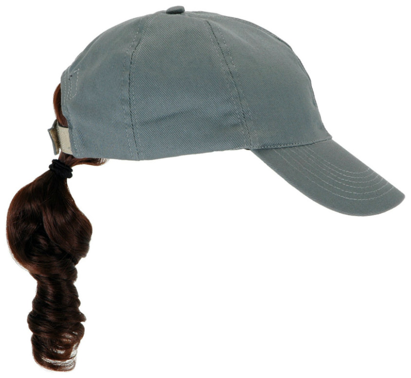Adult Gray Baseball Cap with Brown Ponytail   Costumes Life 825e3955beb