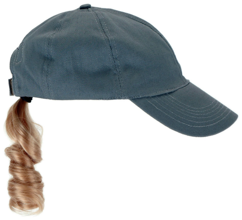 Adult Gray Baseball Cap with Blonde Ponytail