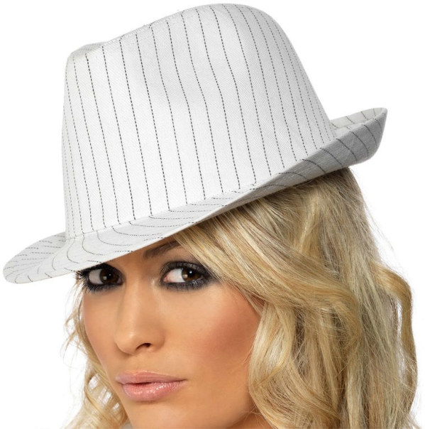 White Gangster Hat Deluxe Adult