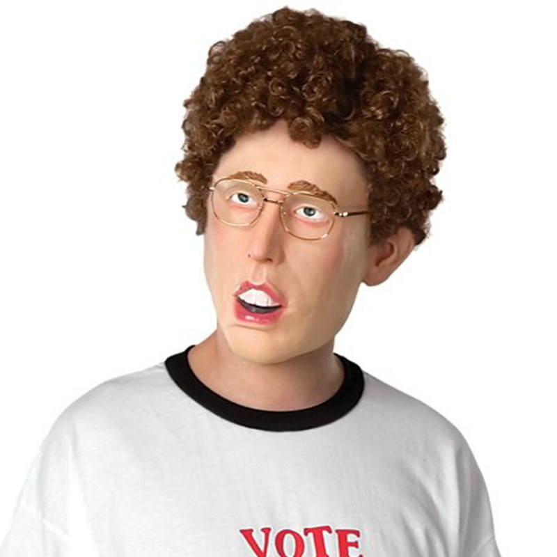Napoleon Dynamite Latex Overhead Mask with Hair