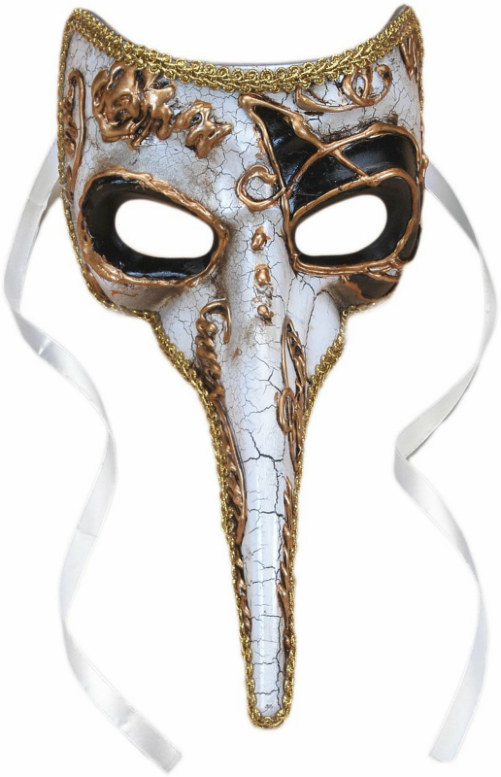 Long-Nosed Black & White Venetian Adult Mask