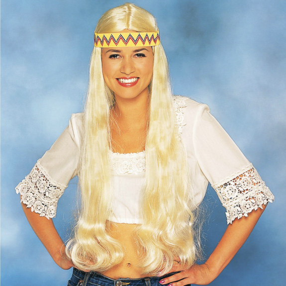 Long Hippie Wig with Headband (Blonde)