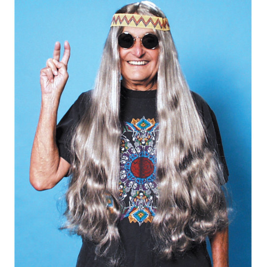 Long Hippie Wig with Headband (Grey)