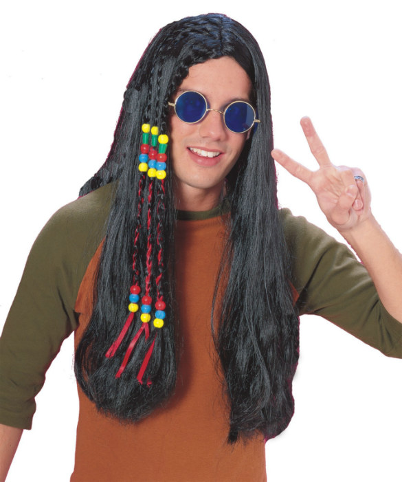 Feelin' Groovy-Black Long Beads/Ribbons Wig