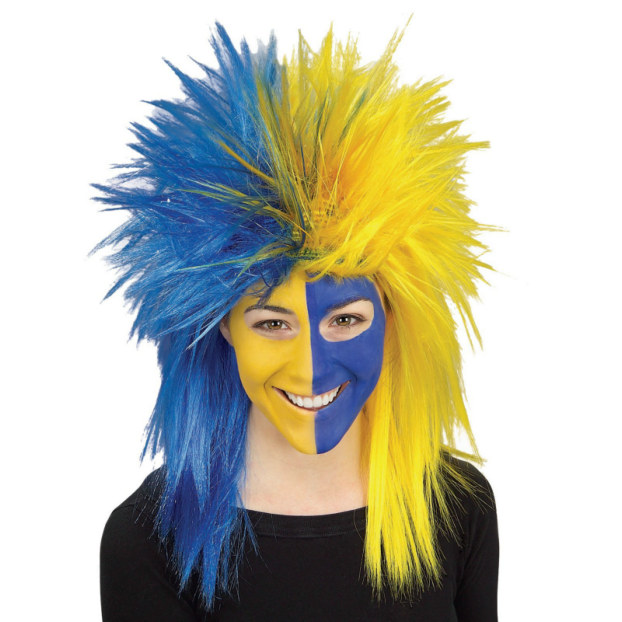 Blue and Yellow Sports Fanatic Wig