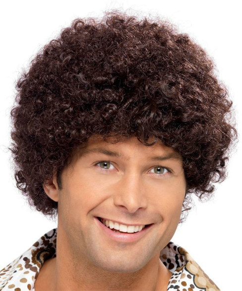 1970's Disco Dude Short Brown Afro Adult