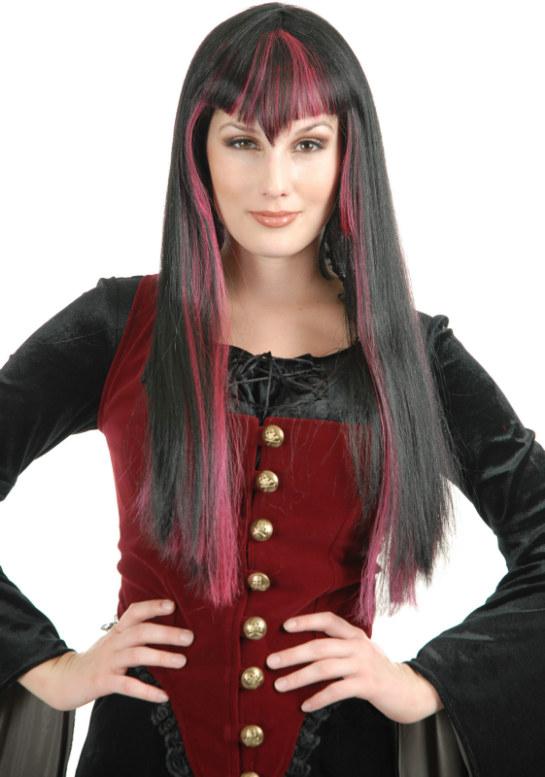 Gothic Vampira (Black/Red) Adult Wig