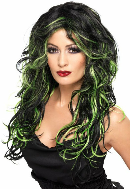 Long Streaked (Black/Green) Adult Wig