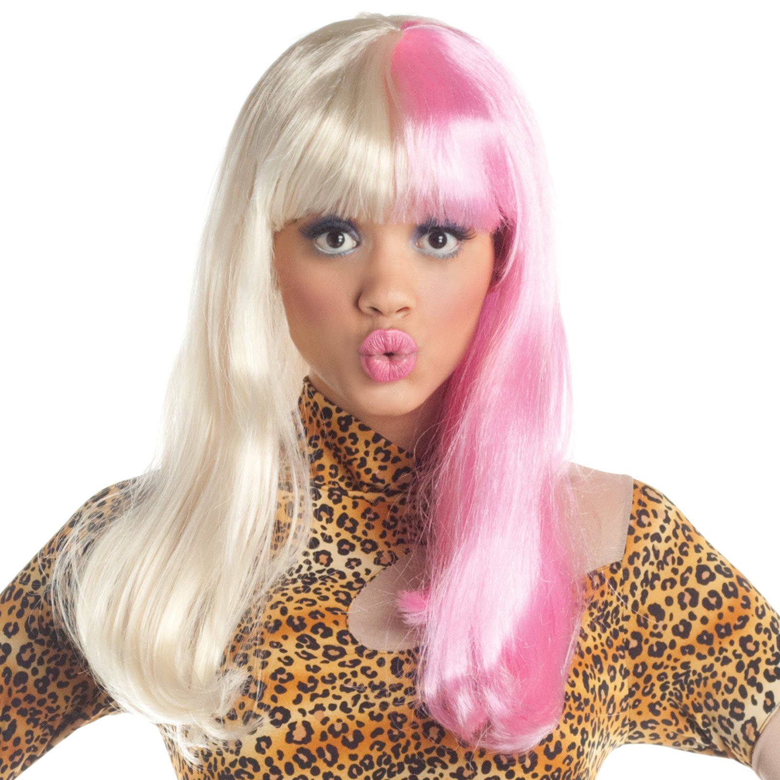 Two Tone Diva Blonde / Pink Adult Wig