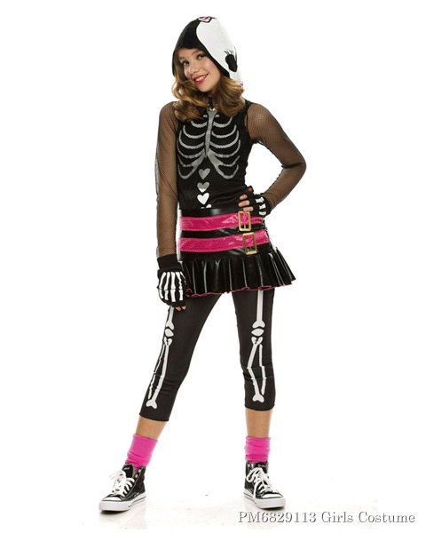 Girls Dramarama Skelehearted Costume