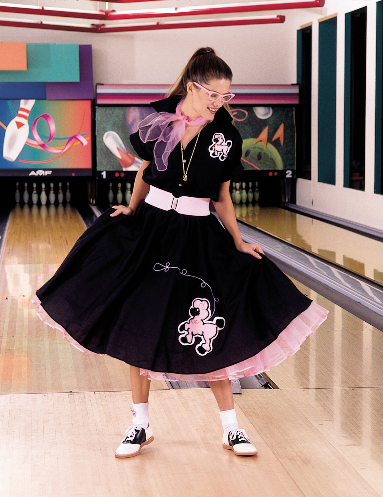 Complete Poodle Skirt Outfit Plus (Black & Pink) Adult Costume - Click Image to Close