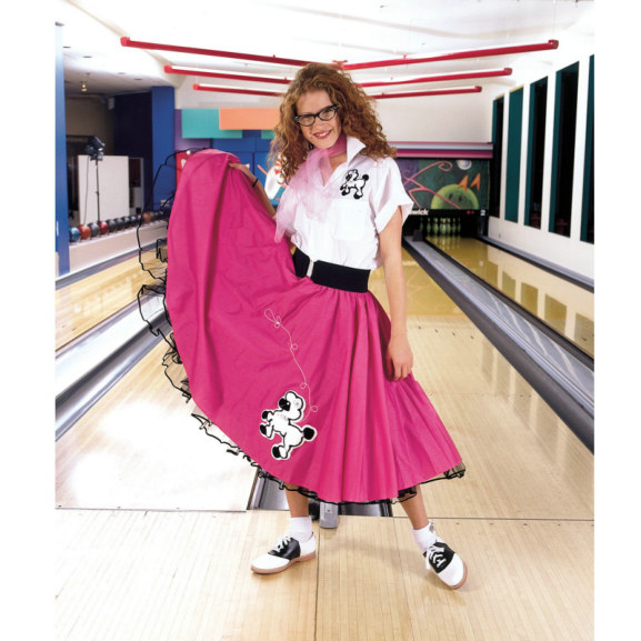 Complete Poodle Skirt Outfit (Pink & White) Adult Costume