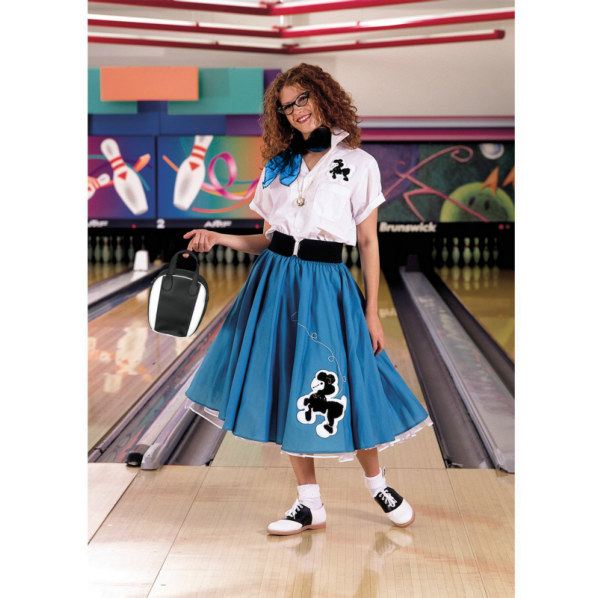 Complete Poodle Skirt Outfit (Turquoise & White) Adult Costume