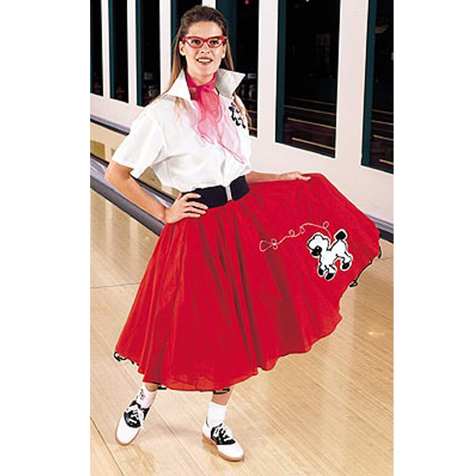Complete Poodle Skirt Outfit Plus (Red & White) Adult