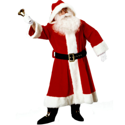 Old Time Santa Suit With Hood Costume
