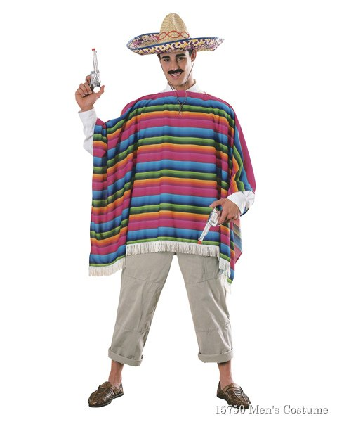 Mexican Serape And Sombrero Mens Costume