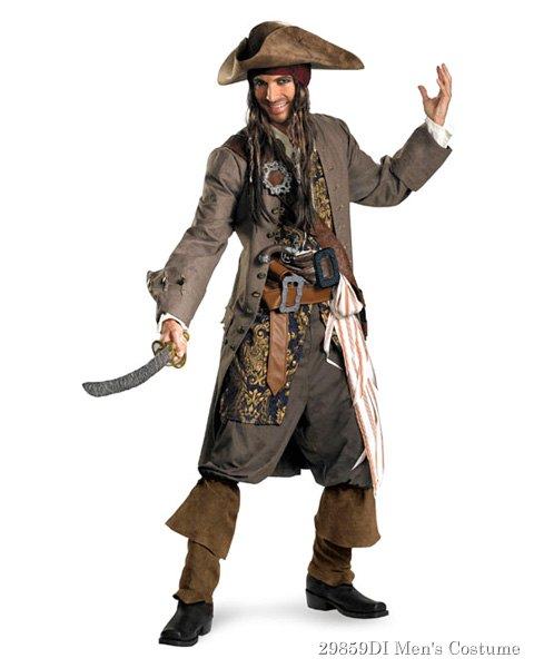 Mens Theatrical Quality Captain Jack Sparrow Costume