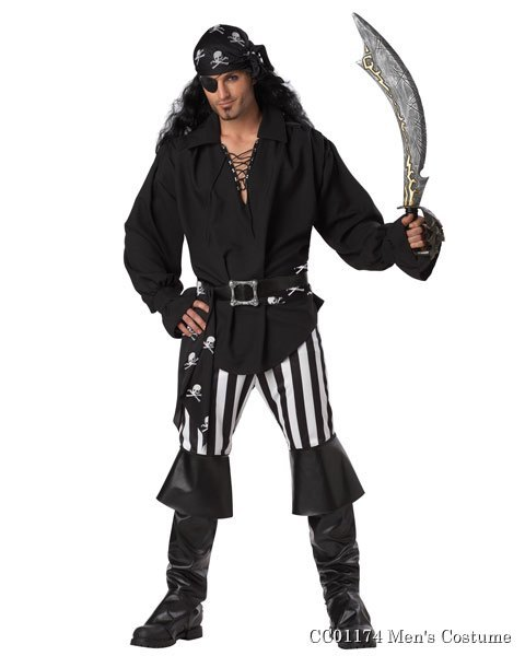 Mens Black and White Swashbuckler Costume