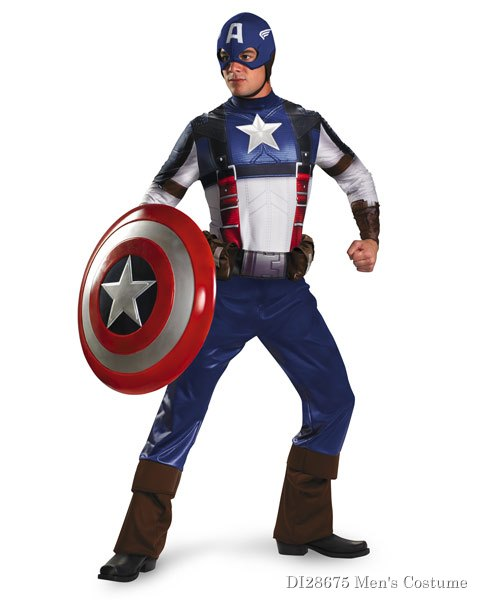 Deluxe Captain America Movie Mens Costume
