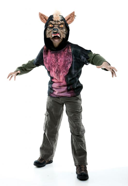 Werewolf Short Sleeve Hoodie Child Costume Large