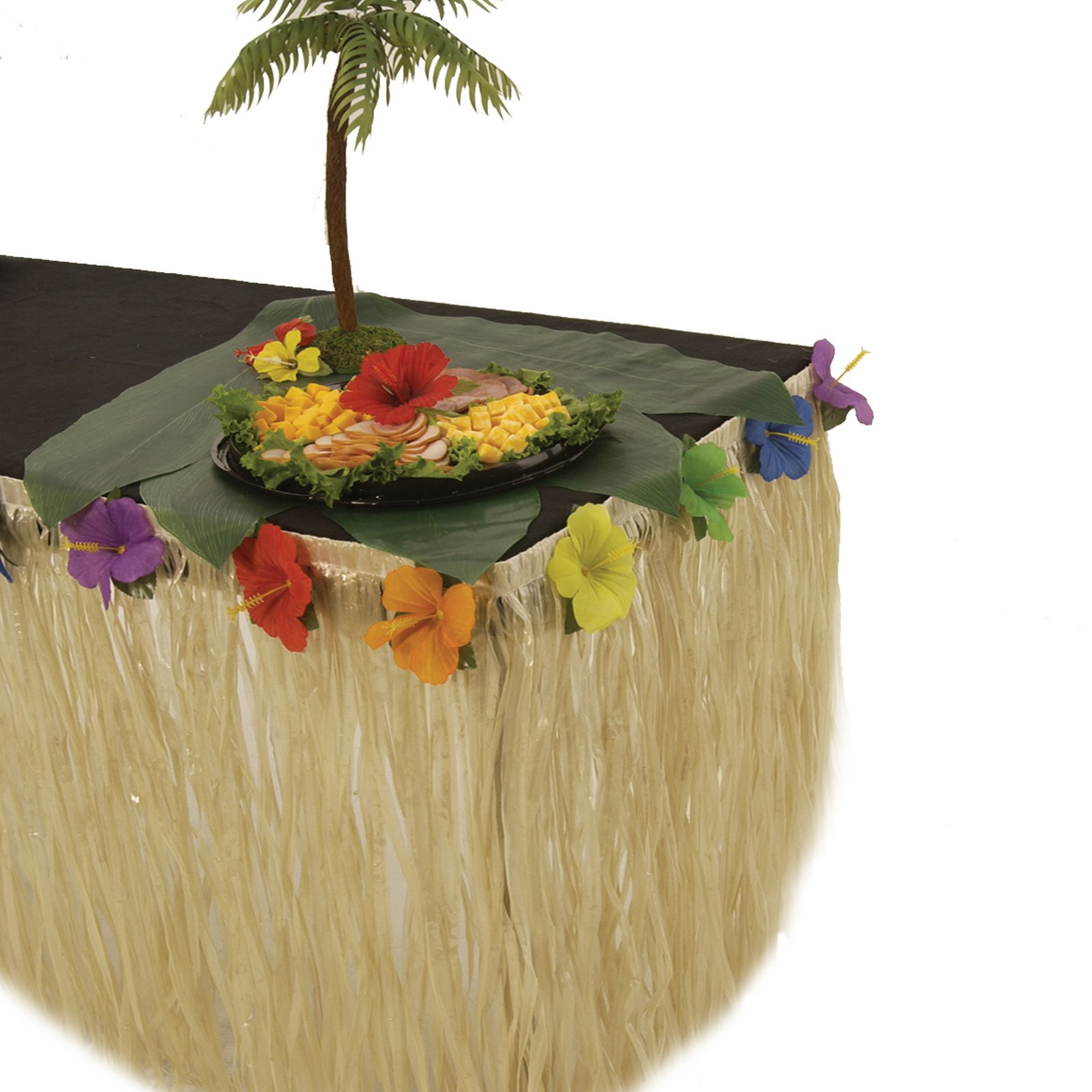 Table Skirt - Natural Nylon with Hibiscus