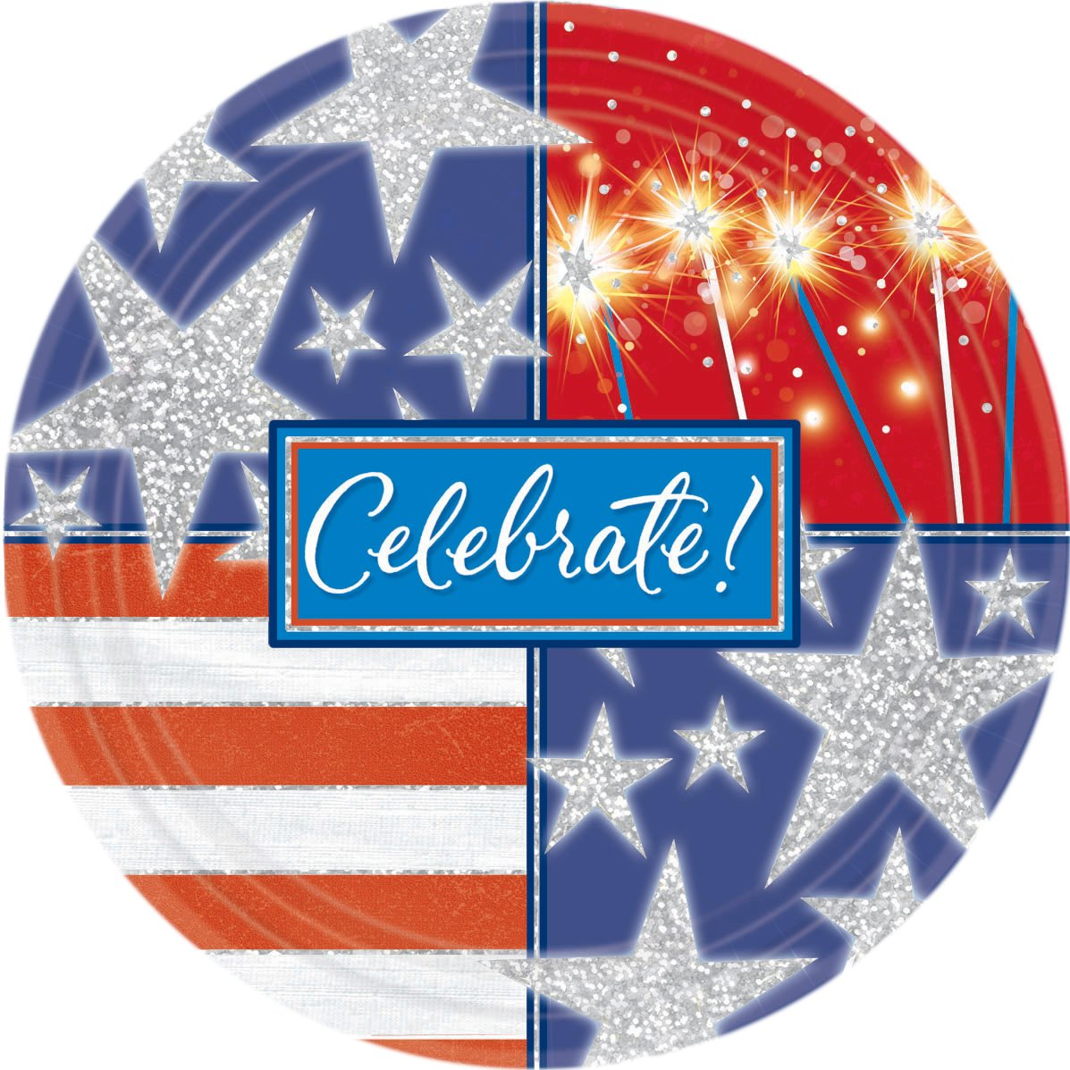 Celebrate Patriotic Prismatic Dinner Plates (8 count)