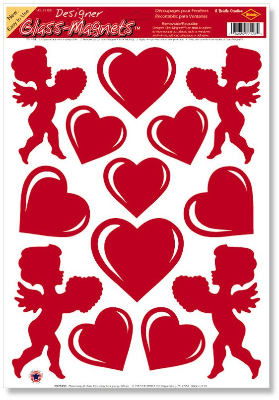 Heart and Cupid Clings (1 sheet)