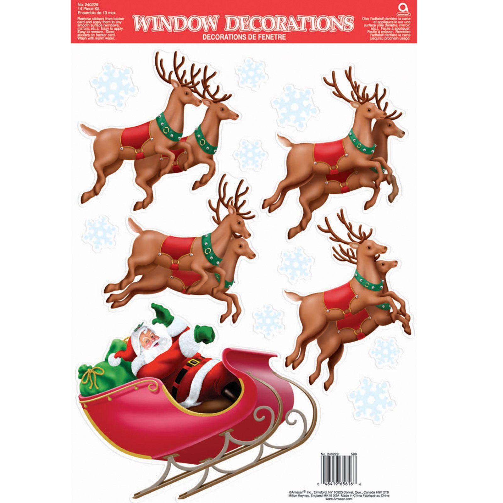 Santa's Sleigh Vinyl Window Decorations