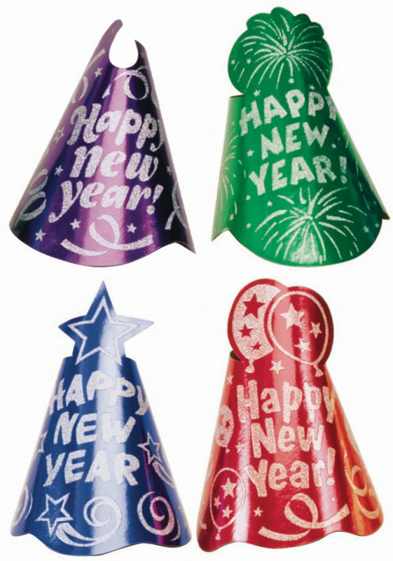 New Year's Foil Cone Hat Assorted (1 count)