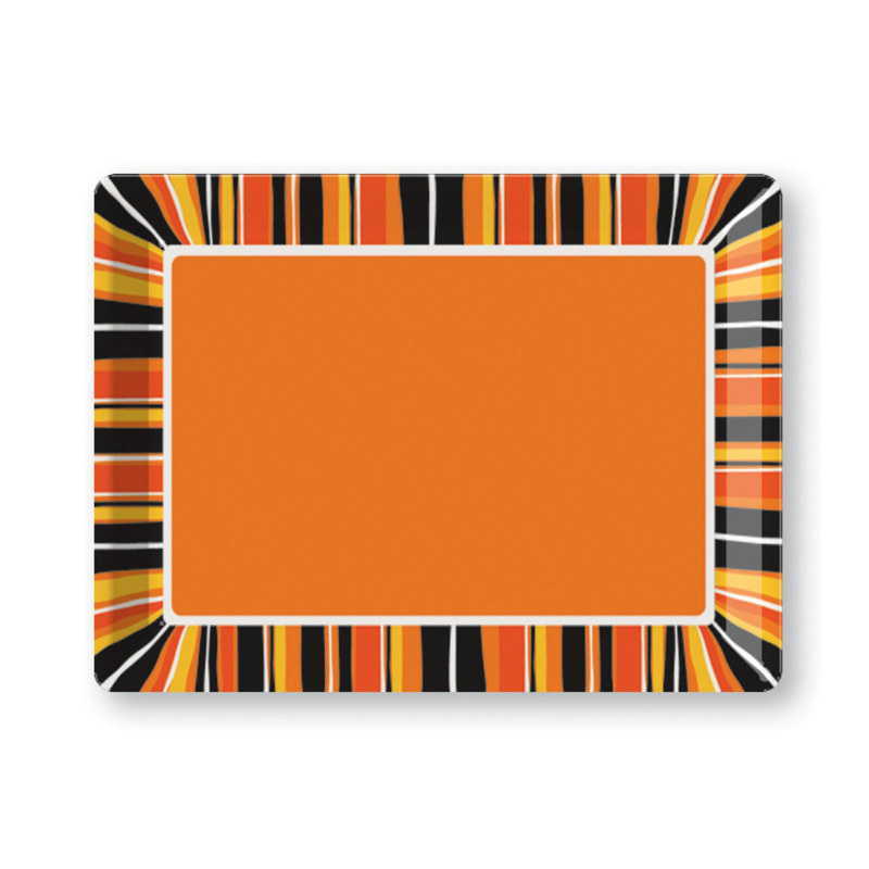 "Halloween Stripes 14"" Plastic Tray"