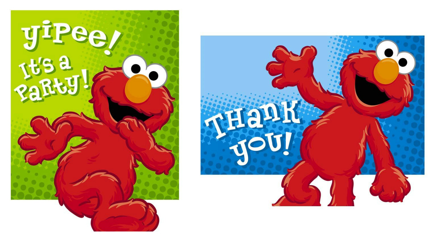 Hooray For Elmo 8 Invitations and 8 Thank You Postcards