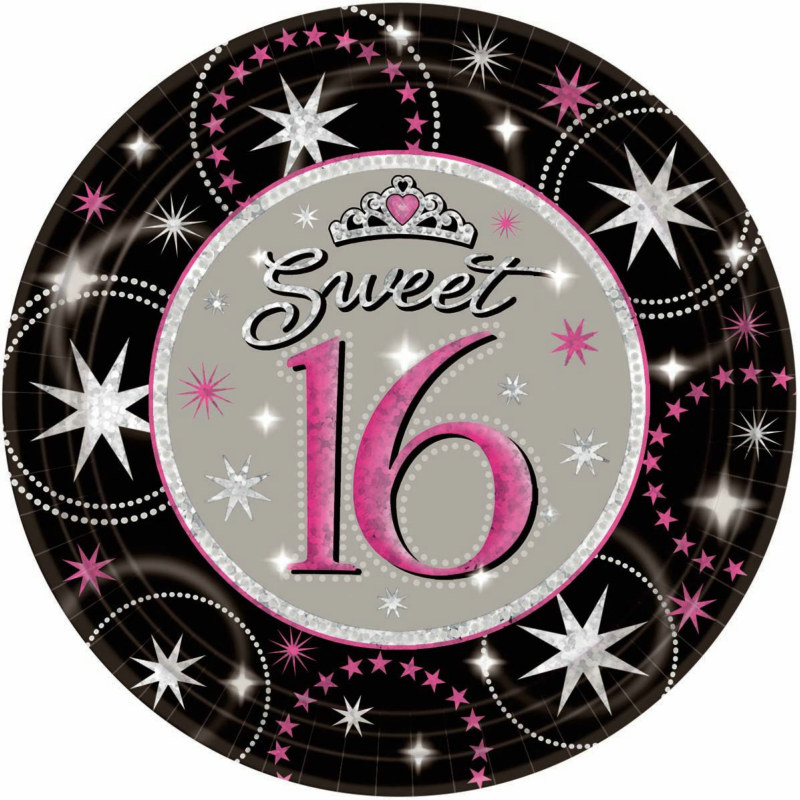 Sweet 16 Sparkle Prismatic Dinner Plates (8 count)