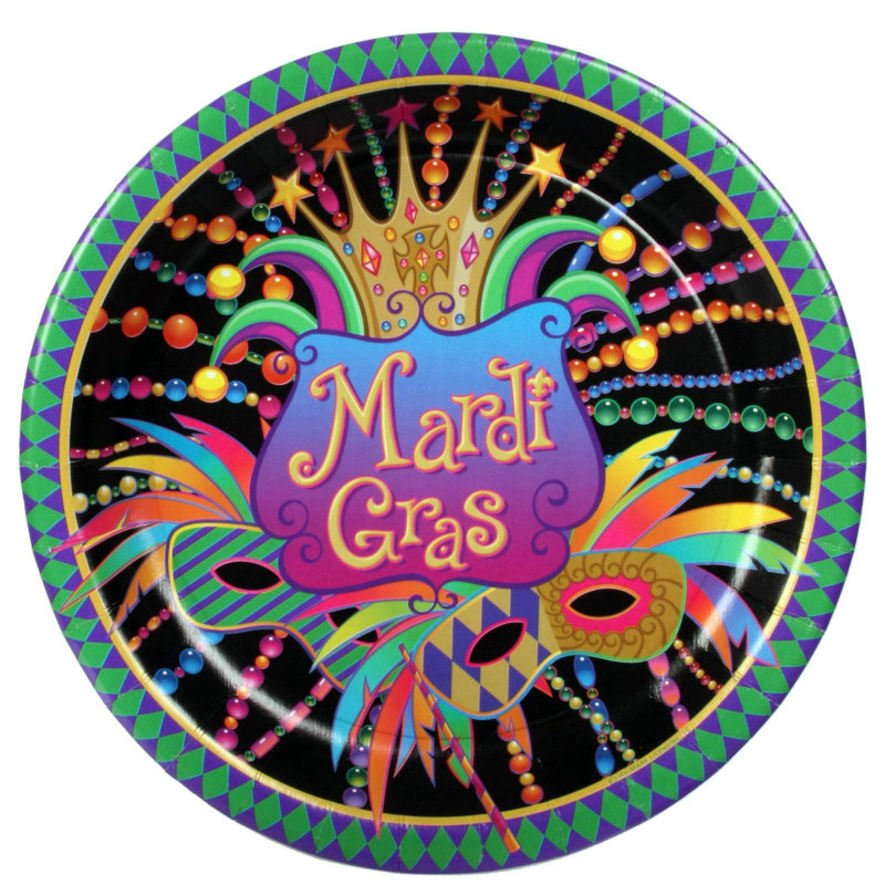 Mardi Gras Celebration Dinner Plates (8 count)