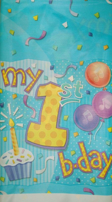 My 1st Birthday Blue Plastic Tablecover