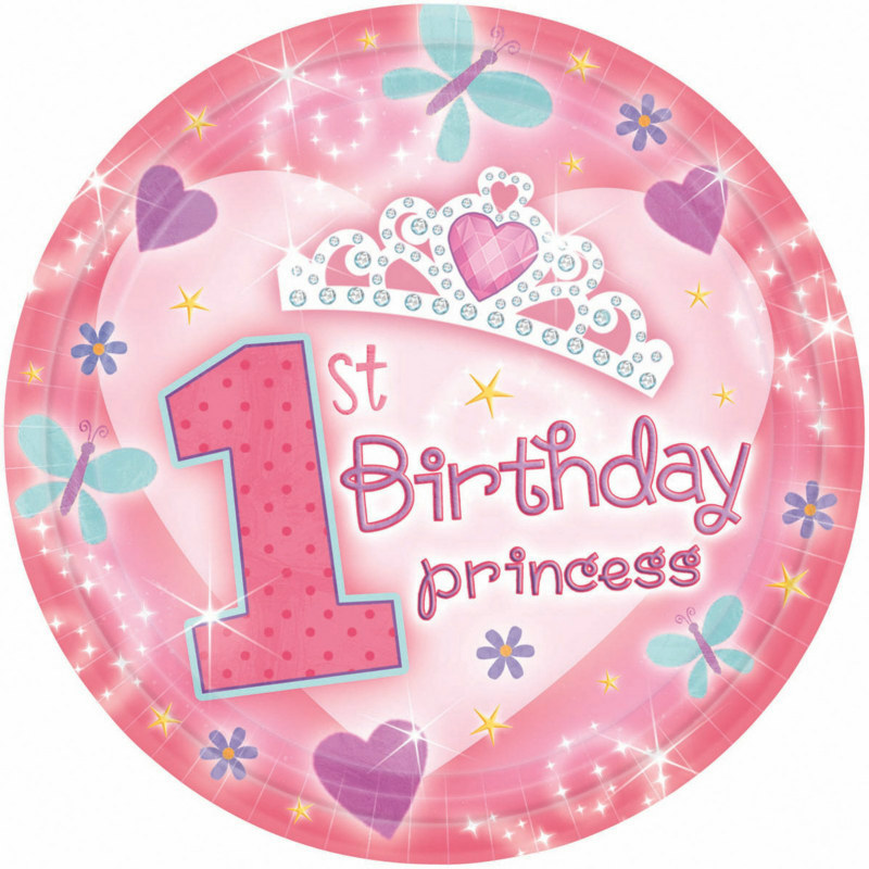 1st Birthday Princess Dinner Plates (18 count)