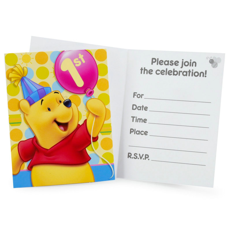 Pooh's First Birthday Invitations (8 count)