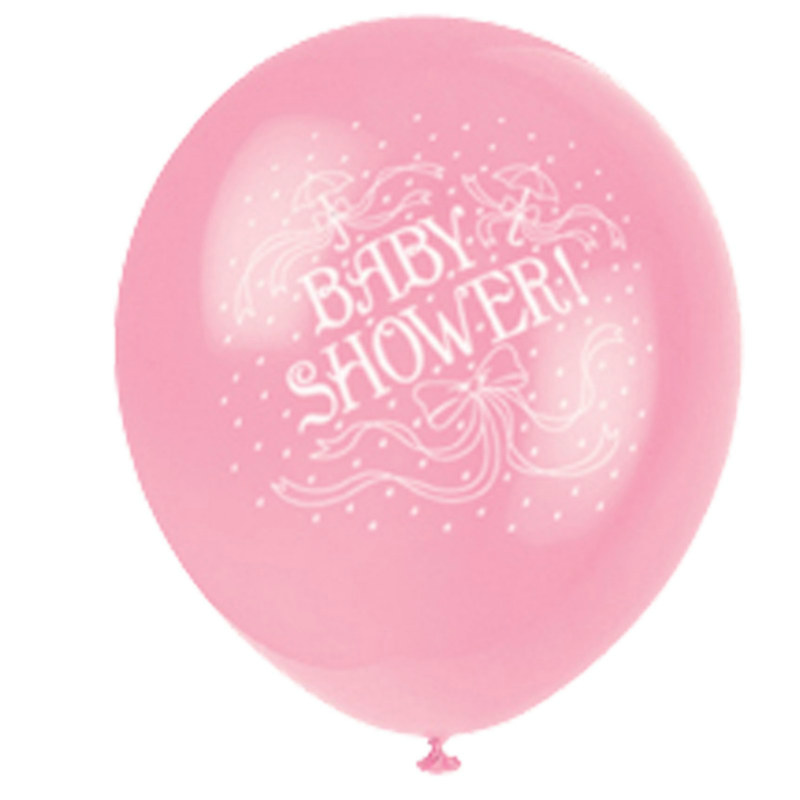 "Baby Shower 12"" Pink Latex Balloons (6 count)"