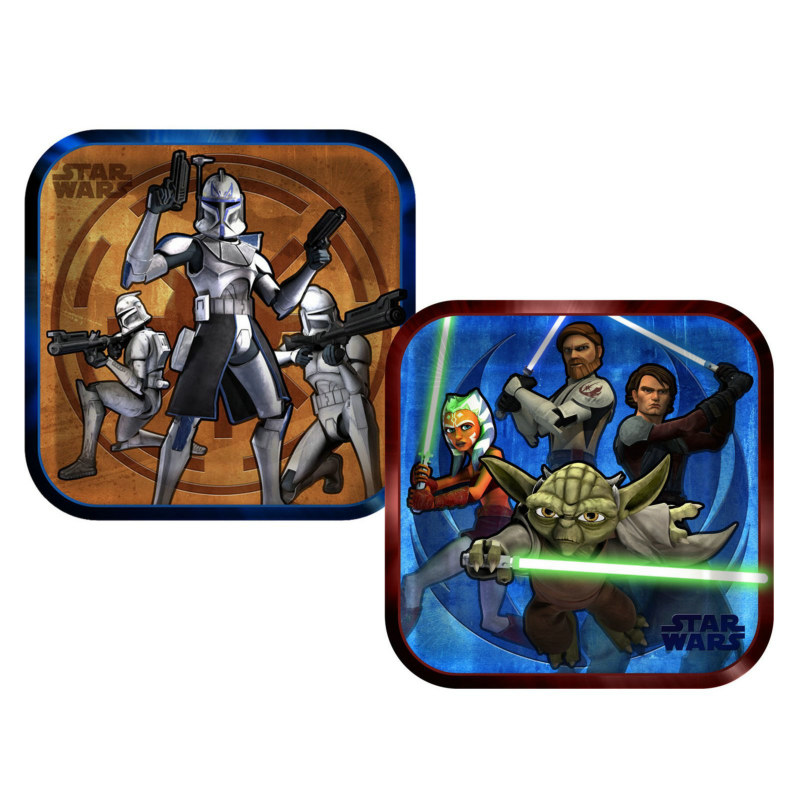 Star Wars: The Clone Wars Square Dinner Plates Assorted (8 count