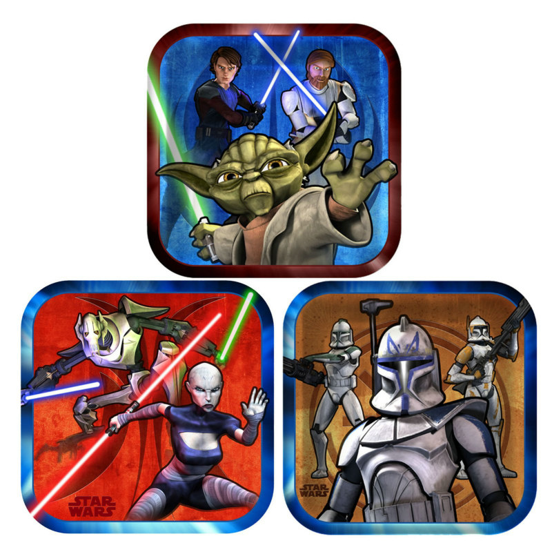 Star Wars: The Clone Wars Square Dessert Plates Asst. (8 count)